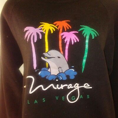Mirage Las Vegas Casino Womens Vintage 90's Black Sweatshirt Large