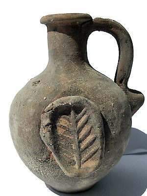 Biblical Ancient coin Antique Jerusalem Jar Holy Land Roman Clay Pottery Jug 2