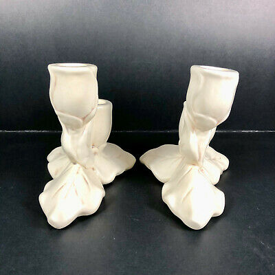 Vintage Red Wing Pottery Magnolia Pair of Candlesticks Candle Holders 8