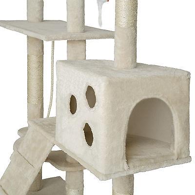Arbre à chat xxl griffoir grattoir geant avec 2 grottes beige 2