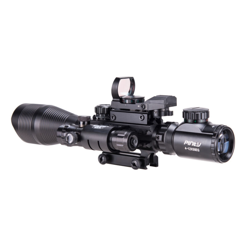 Pinty 4-12X50 Tactical Rangefinder Reticle Rifle Scope Green Laser & Dot Sight 4