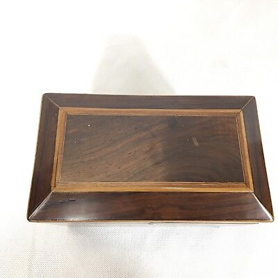 Fine Antique Regency Rosewood Satinwood Inlaid Two Section Tea Caddy C1820 2