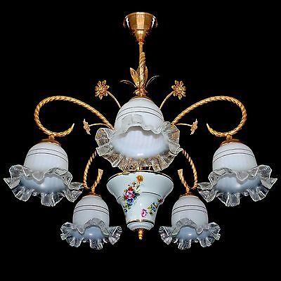 Vintage Italian Flower Bouquet Porcelain & Murano Art-Glass Shades Chandelier 2