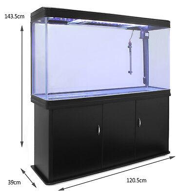 Pecera Acuario Completo 300L Mueble Negro 300W Vision 180º y Luz LED