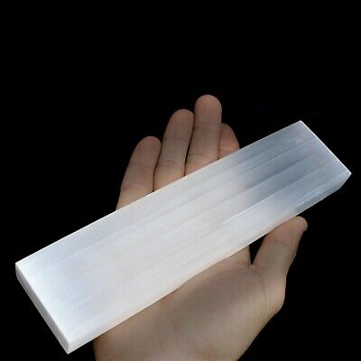 "XL Polished Selenite ""Charging"" Plate 8"" Flat Natural Crystal Display Plate Wand 3"