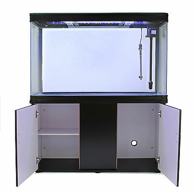 Fish Tank Aquarium Tropical Marine Complete Set Up Black Cabinet 300 Litre 4ft