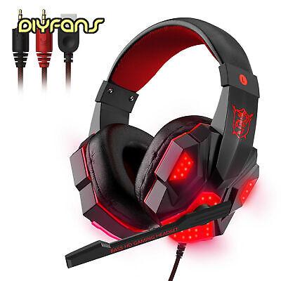 Gaming Headset LED verkabelt über Ohr Kopfhörer Stereo mit Mikrofon Für Xbox PC