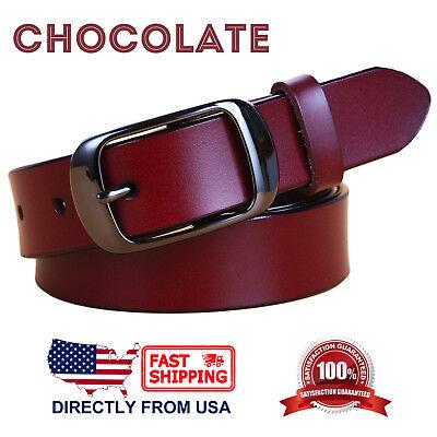 Women's Jean Belt, Classic Buckle Handcrafted Genuine Leather Belt 2
