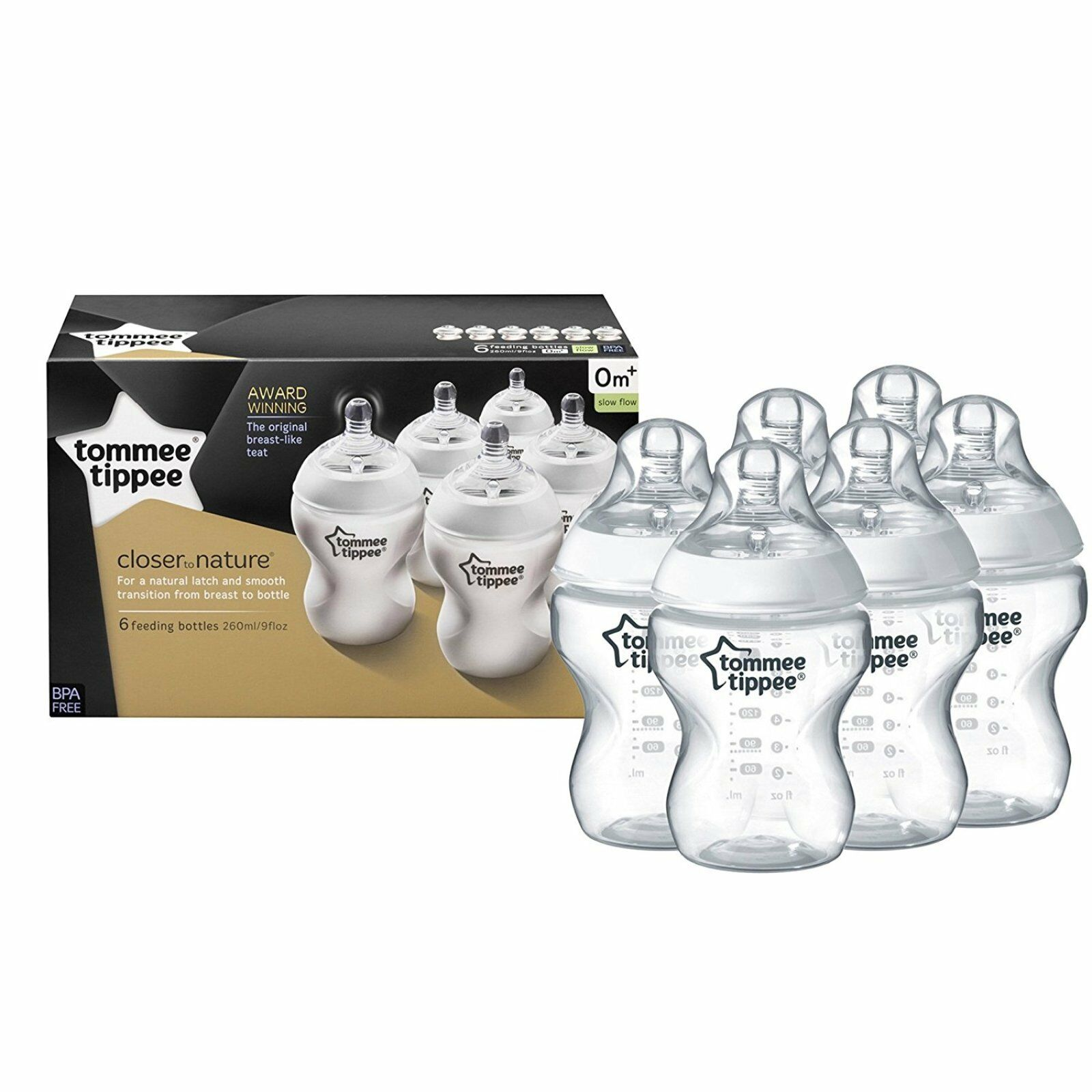 Tommee Tippee Closer to Nature Anti Colic 260ml/9oz Baby Feeding Bottles 6 Pack 8