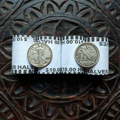 Unsearched Half Dollar Coin Roll (1) - Silver Walking Liberty Coin (1) - Usa Lot 8