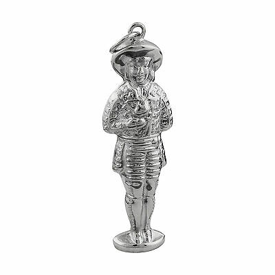 Little Boy Sewing Needle Case or Toothpick Holder 925 Sterling Silver NEW