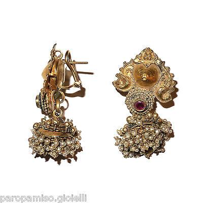 Tamil Nadu Earrings, 22k Gold-Rubis-Basra Pearls  (0729) 2 • CAD $6,521.84