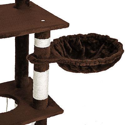 Arbre à chat griffoir grattoir geant avec hamac lit 141 cm hauteur xl marrone 4