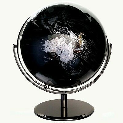 STUNNING HIGH QUALITY Double Axle World Globe Black Chrome Home Decor Gift 30cm 8