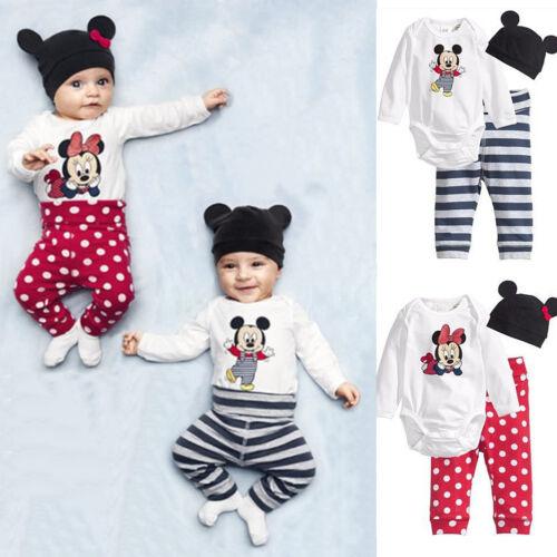 3pcs Newborn Baby Boys Girls Kids Cartoon Romper Hat Pants Bodysuit Outfits Sets 3