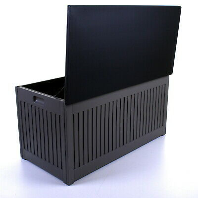 270L Grey Garden Storage Box Outdoor Plastic Utility Cabinet Shed Chest Cushion 11