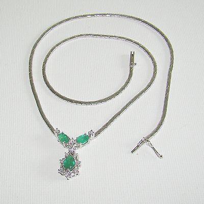 Halskette Gold 585er Smaragd Brillanten Collier Goldschmuck 14 kt. Damen