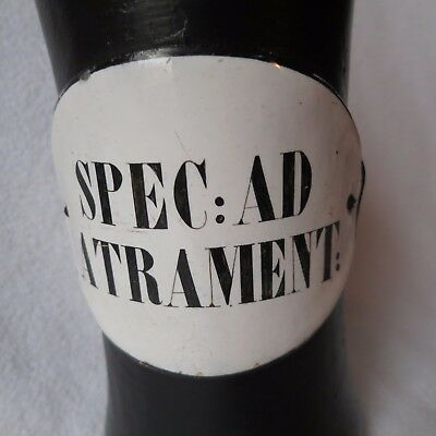 sehr altes Apotheker Holzgefäss Standgefäss Holz Emailschild antik um 1900 RAR 5
