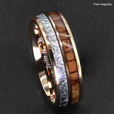 8/6mm Rose Gold Dome Tungsten Ring Silver Koa Wood Inlay Bridal ATOP Men Jewelry 2