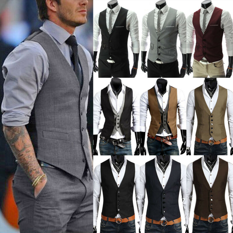 lowest price 098a1 42fae HERREN JERSEY SMOKING Blazer Anzug Weste Slim Fit Business Formales  Anzugsweste
