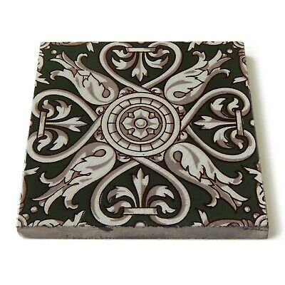 Antique Tile Victorian Aesthetic Gothic Arts Crafts Floral Lea Hearth Green Gray 8