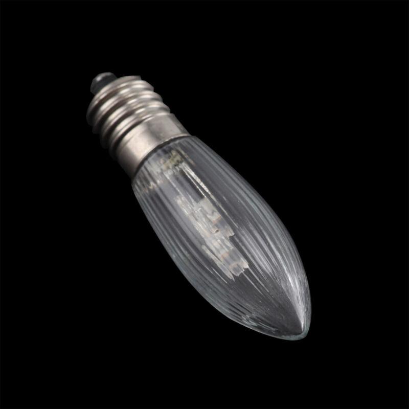 10Stk E10 LED 0,2W 10-55V Birnen Lampe Topkerzen Spitzkerze Riffelkerze matt jc 7