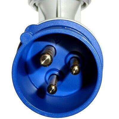16A 3 Pin Angled Plug 1 Phase IP44 Caravan Camping 2P+E 230V Garo 16 Amp Blue 6