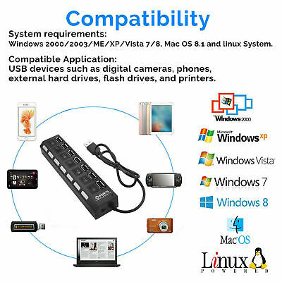 4/7-Port USB 2.0 Hub w/ High Speed Adapter ON/OFF Switch for Laptop PC Splitter 6
