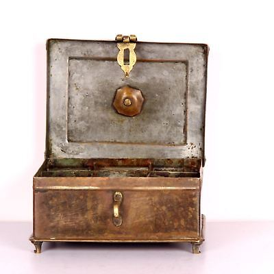 Antique Brass Miniature Collectible Mughal Style Betel Nut Box With Lock System 3