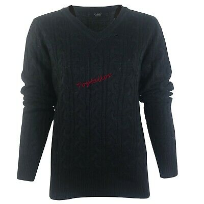 Ladies Womens V Neck Cable Knit Long Sleeve Knitted Jumper Sweater Top Quality 6