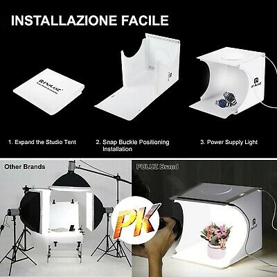 Studio Set Fotografico Portatile Pieghevole Light Box Con Illumin. Led 6 Sfondi 5
