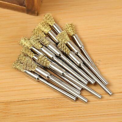 15pcs 5mm Brass Wire Brushes Wheel For Grinder Drill Rust Weld Power Rotary Tool 2