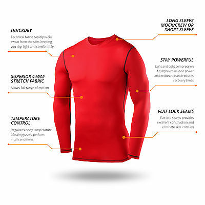 Mens Boys Body Armour Compression Baselayers Thermal Under Shirt Top Skins 6