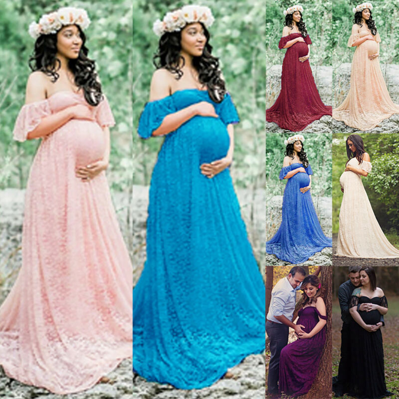 Maternity Women Lace Photography Long Pregnant Boho Maxi Gown Party Dress Props 9