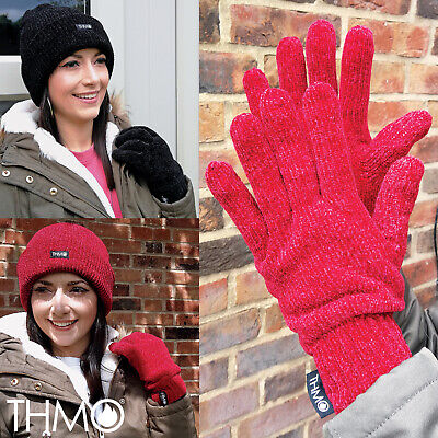 THMO - Ladies Outdoor Thermal Winter Chenille 3M 40 gram Thinsulate Lined Gloves 3