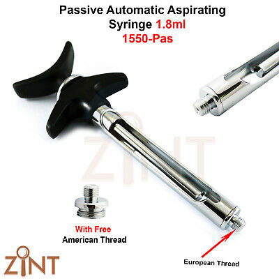 Set of 2 Passive Dental Aspirating Syringe 1.8 ml Anesthesia Syringes New Zint