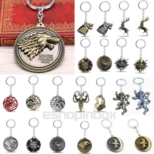 Game of Thrones House Stark Head Targaryen Baratheon 3D Metal Keyring Keychain 3