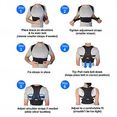 Posture Corrector Support Men Women Magnetic Back Shoulder Brace Belt Adjustable 11