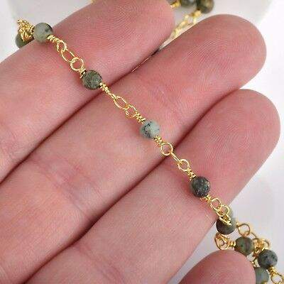 3ft Matte Green AFRICAN TURQUOISE Gemstone Rosary Chain gold 4mm round fch0763a 3
