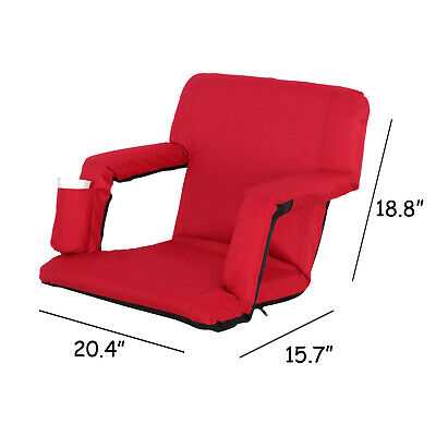 Portable Stadium Seat Chair, Reclining Bleacher Seat Red w/ 5 Assorted Positions 3