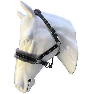 White Horse Equestrian Stylish Padded Diamond Faux Fleece Pony Cob Headcollar