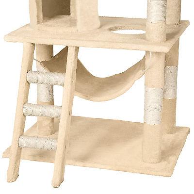 Arbre à chat griffoir grattoir geant sisal avec hamac lit 141 cm hauteur beige