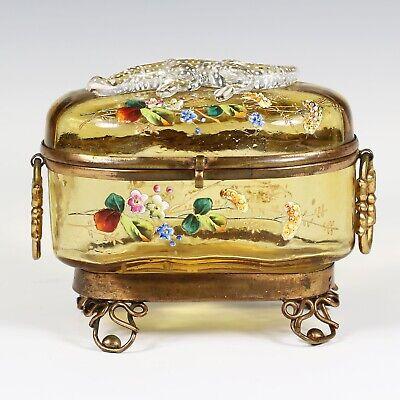 Antique Moser Bohemian amber art glass Casket hinged box enameled applied lizard 2