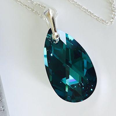 14f63322f ... Swarovski Elements 925 Silver Crystal Necklace Pendant Teardrop Pear  Jewellery 2