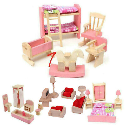 Kid Pink Wooden Furniture Dolls House Miniature 6 Room Set Doll For Gift DIY AR 2