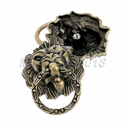 6x Vintage Brass Lion Head Drawer Cupboard Cabinet Dresser Ring Pull Handle Knob 6