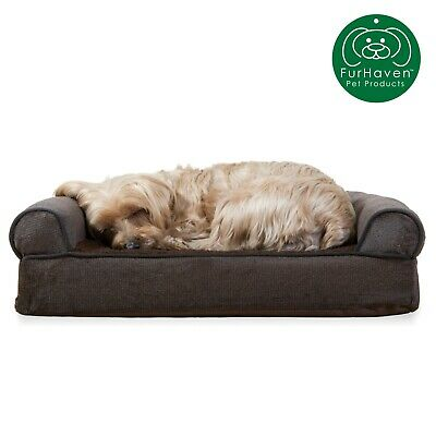 FurHaven Pet Faux Fleece & Chenille Soft Woven Sofa Dog Bed 6