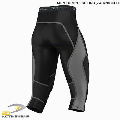 Mens Compression Tights Skin Tight Pants Three Quarter Base Layer Shots 3/4 Legg 4