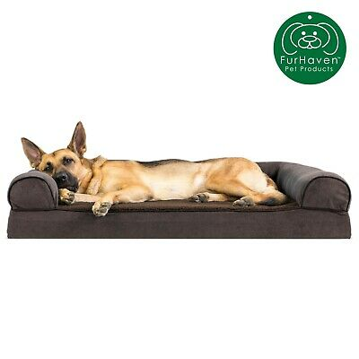 FurHaven Pet Faux Fleece & Chenille Soft Woven Sofa Dog Bed 9