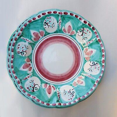Coppia di Piatti in Ceramica Vietri 2 pezzi 100/% decorato a mano Arancione